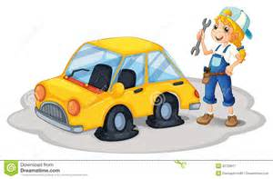 Car With Flat Tires Clipart A Repairing A Yellow Car With Flat Tires Royalty Free