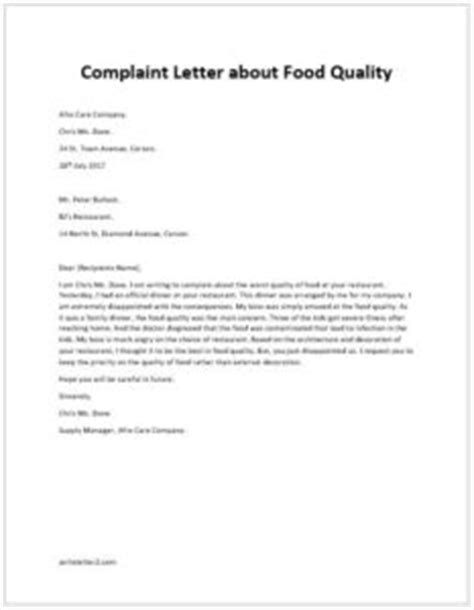 Complaint Letter About Quality Of Food Complaint Letter About Food Quality Writeletter2