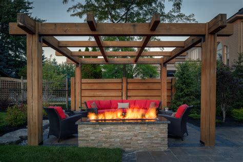 Outdoor Fire Pit Designs Under Pergola   OUTDOOR FIRE PITS
