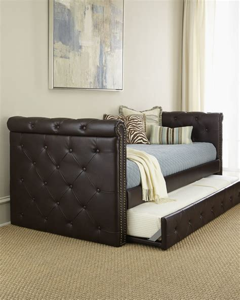 leather day bed raven tufted leather daybed daybeds by horchow
