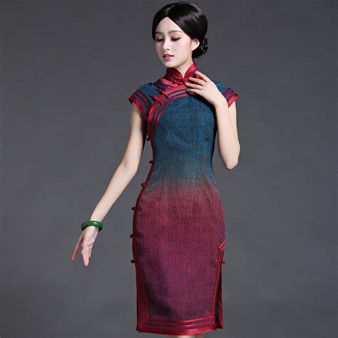 Dress Cheongsam Style classic quality tortoise silk style cheongsam