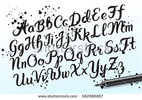 hand drawn brushpen alphabet letters handwritten stock