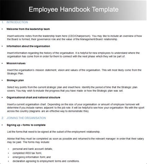 employee manual template employee handbook template cyberuse