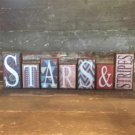 stars and stripes home decor 4th of july theme home decor wood blocks stars stripes
