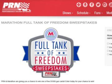 Tank 5 Win Instantly - the full tank of freedom sweepstakes