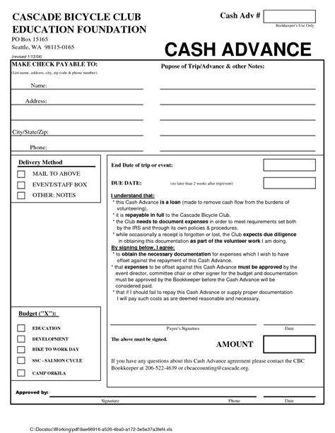 Cash Loan Agreement Form   Free Printable Documents