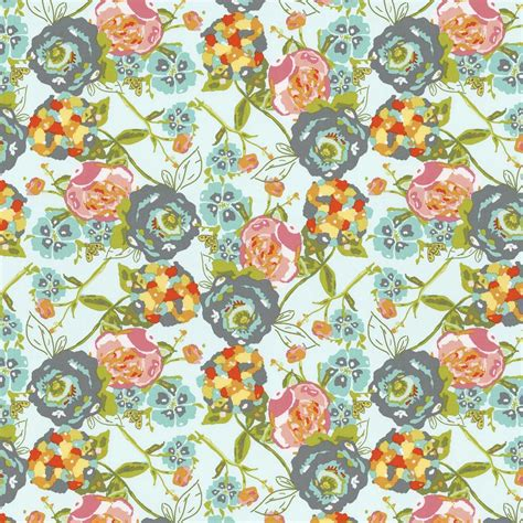 teal flower garden fabric by the yard pink fabric