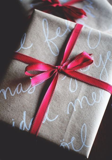 Brown Paper Crafts - handwriting on brown paper makes for beautiful wrapping