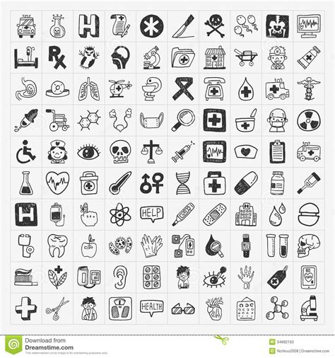 free vector doodle icons 100 doodle icons set stock vector image 34682193