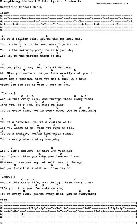 song lyrics for everything michael buble with chords