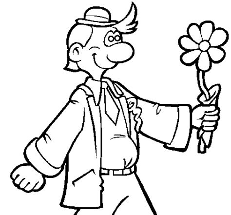 imagenes de hombres fuertes para colorear dibujo de hombre contento con una flor para colorear