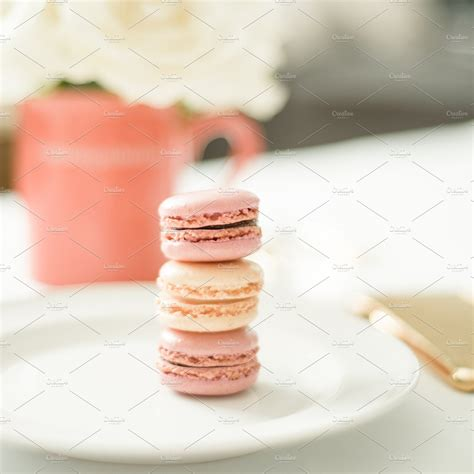 happy macarons stock image  creative market