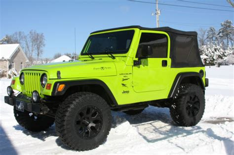 2001 jeep wrangler sport tj 4x4 clean with gecko green paint