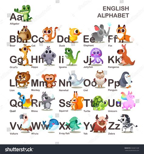 animal alphabet character stock vector illustration characters childrens alphabet stock