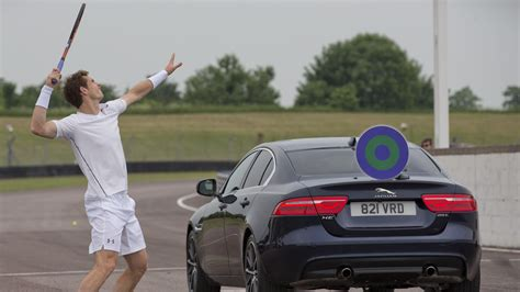 andy murray fights jaguar f type svr in tennis match