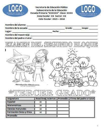 examen de tercer grado de primaria bloque 3 2016 examen del tercer grado para el segundo bloque del ciclo