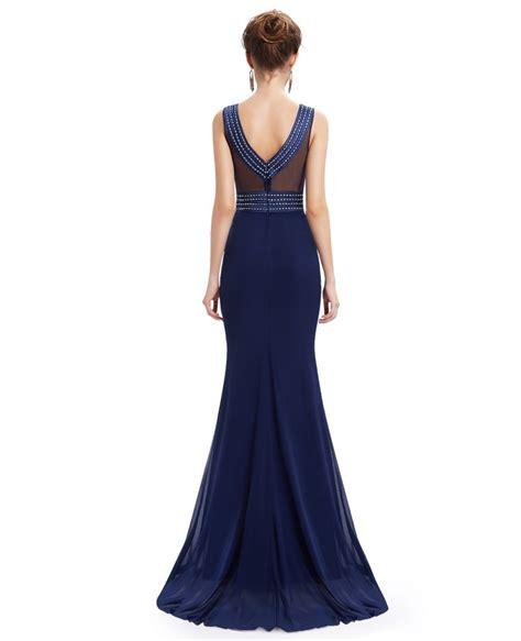 dress with beading mermaid neck floor length chiffon evening dress with