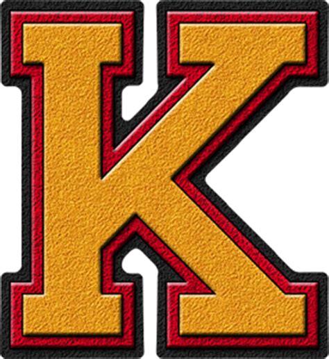 College With Letter K Presentation Alphabets Gold Cardinal Varsity Letter K