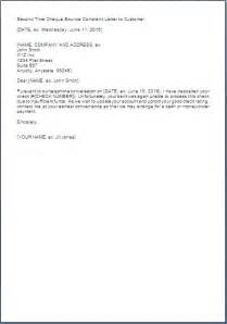 second time cheque return letter format