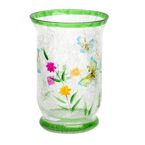 Christmas Home Decor Online Green Hand Painted Crackle Glass Garden Candle Holder