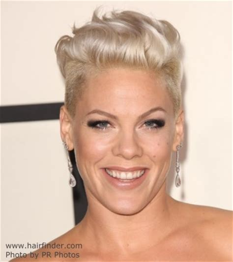 pink | bleached platinum blonde short hair with buzzed sides