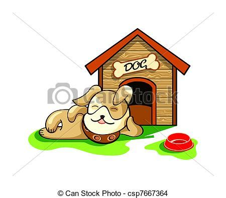 happy dog house dog house happy dog dreaming near his wood house isolated eps vector search clip