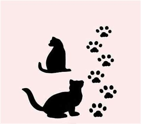cat stencil paw prints paws stencils animal cats