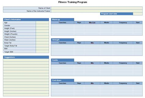 template for exercise program fitness program sheet