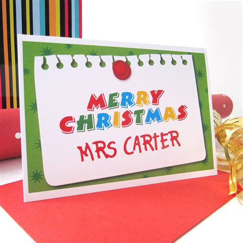 printable christmas greeting cards for teachers personalised teacher christmas card by mrs l cards