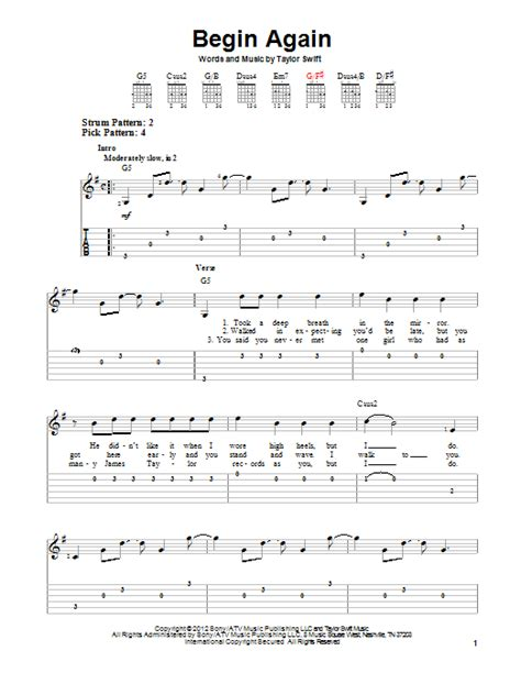 begin again taylor swift easy chords begin again by taylor swift easy guitar tab guitar