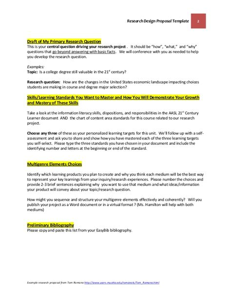 Design Research Proposal Template | research design proposal template october 22 2014 final