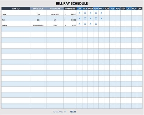pay schedule template excel spreadsheet for paying monthly bills bill