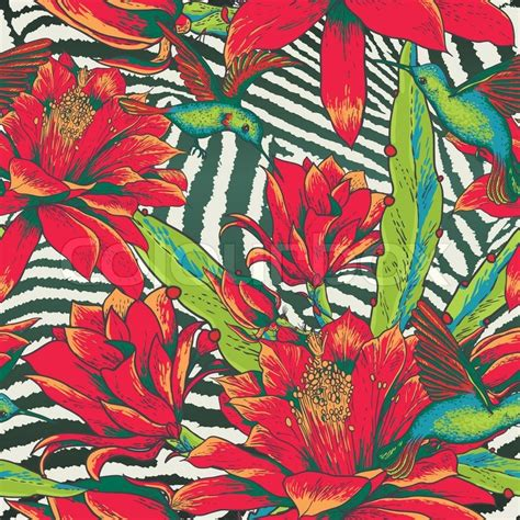 pattern vintage red beautiful tropical seamless vintage floral pattern on