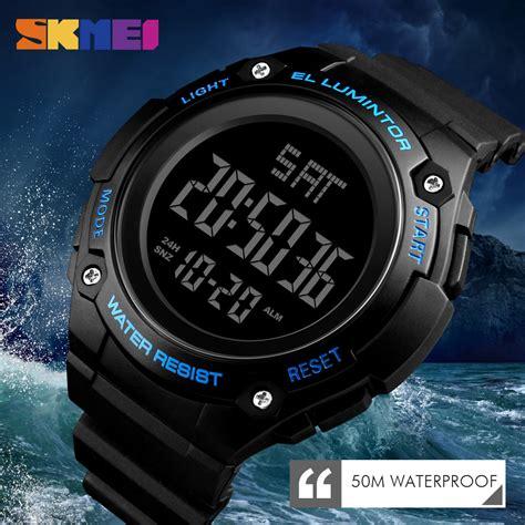 skmei jam tangan digital sporty pria  black