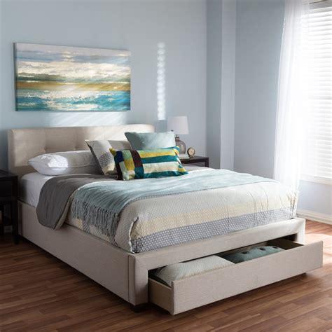baxton studio brandy light beige fabric upholstered queen