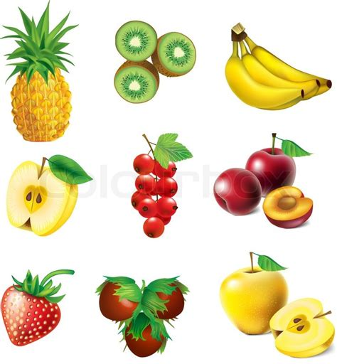 Hexagon Pineaple Apple Kiwi set of vector fruit pineapple kiwi apple strawberry currant banana plum and hazelnut