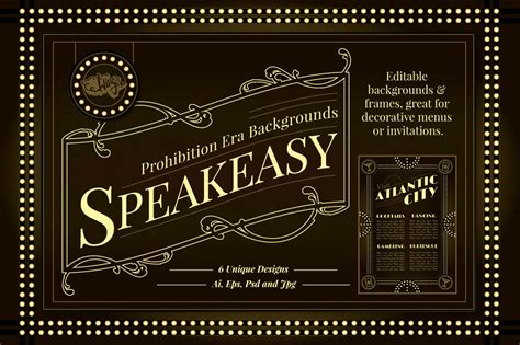 Speakeasy Backgrounds And Frames Speakeasy Invitation Template Free
