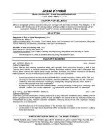 Cook Resume Objective Exles by Resume Exle Professional Culinary Resume Templates Culinary Resume Objective Culinary