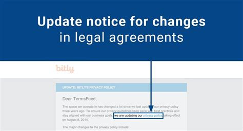 Update Notice For Changes In Legal Agreements Termsfeed Terms And Conditions And Privacy Policy Template