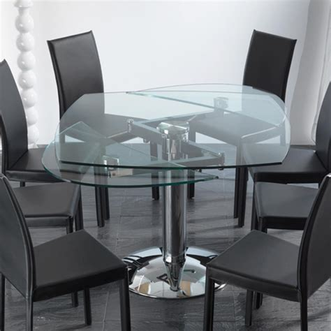 Dining Table Tempered Glass Transparent Tempered Glass Extendable Dining Table Onda