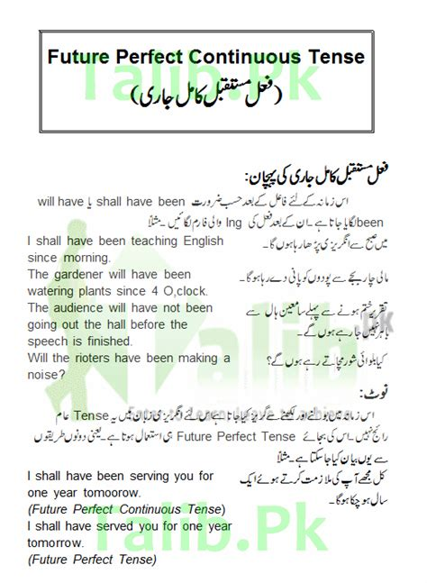 pattern of future perfect continuous tense future perfect continuous tense in urdu and english
