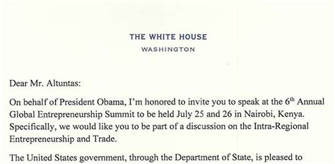 Official Letter Kenya Baybars Altuntas Of Turkey Invited By President Obama To
