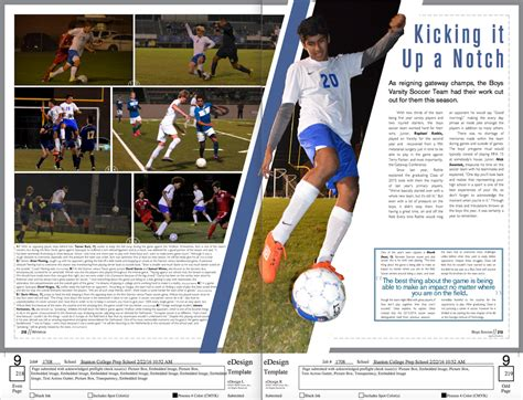 yearbook layout tips varsity soccer page yearbook layout design