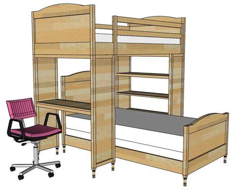 diy loft bed with desk chelsea bunk bed system desk or bookshelf supports tutorial kiddie corner loft bed desk