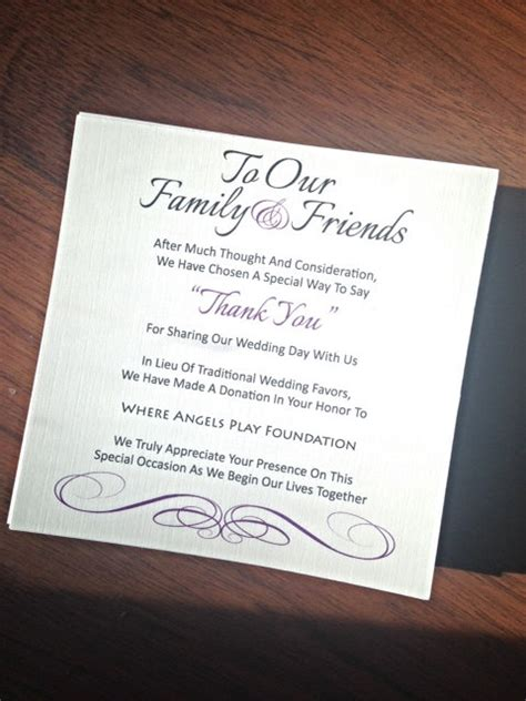 in lieu of gifts wedding wedding favor donation card in lieu of favors