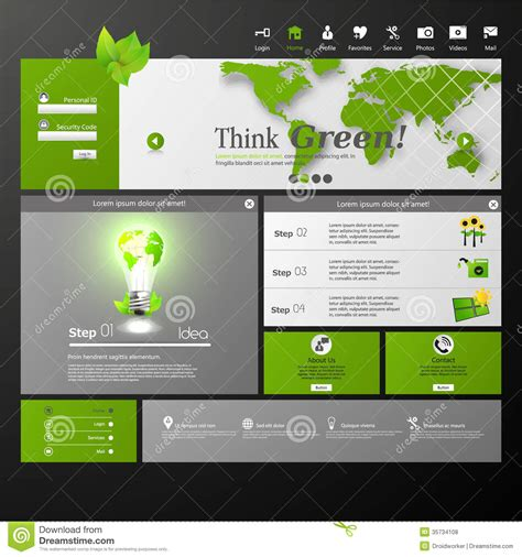 clean template clean eco modern website template royalty free stock