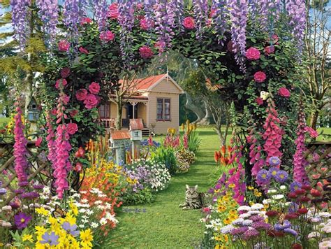 wallpaper desk cottage garden wallpaper cottage garden - In A Cottage Garden