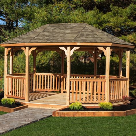 gazebo it yardcraft oval 18 ft w x 12 ft d cedar permanent gazebo