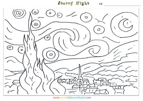 Free coloring pages of starry night