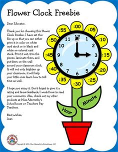 free flower clock template to decorate your classroom